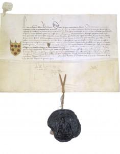 Il giglio di Firenze è una concessione del re di Francia Luigi XI. Questo è l'atto esposta alla mostra Una volta nella vita
