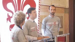 Dario Nardella, Bona Frescobaldi, Andrea Vannucci alla Conferenza stampa a Firenze di Corri la Vita