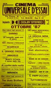 locandina ottobre 87 cinema Firenze L'Universale d'essai