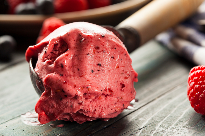 Homemade Organic Berry Sorbet Ice Cream Ready to Eat